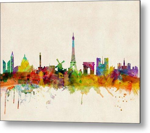 Paris Metal Print featuring the digital art Paris Skyline by Michael Tompsett