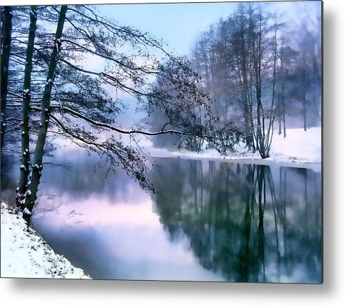Snow Metal Print featuring the photograph Pastel Pond by Jessica Jenney