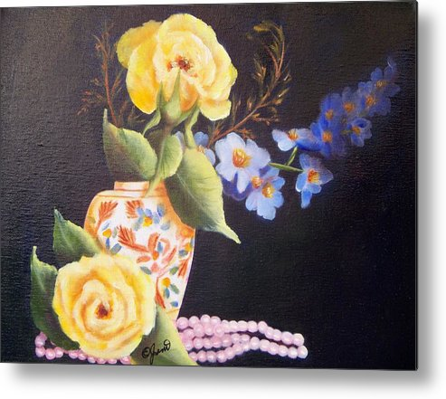 Rose Metal Print featuring the painting Pearls And Roses by Joni McPherson