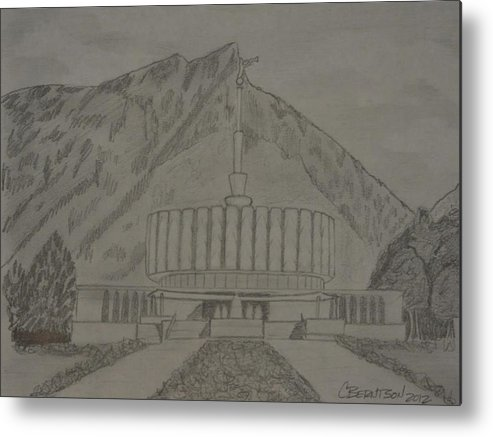 Provo Metal Print featuring the drawing Pencil Provo by Stretch Berntson