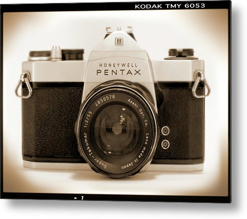 Vintage Film Camera Metal Print featuring the photograph Pentax Spotmatic IIa Camera by Mike McGlothlen