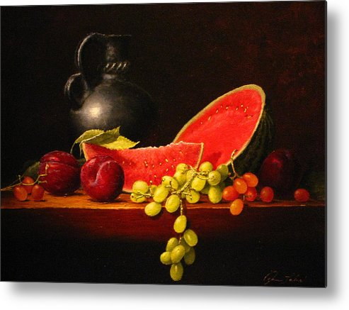 Still Life Metal Print featuring the painting Petite Watermelon by Sean Taber