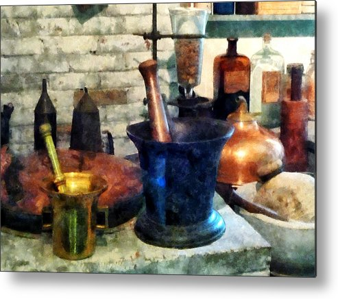 Drugstore Metal Print featuring the photograph Pharmacist - Three Mortar And Pestles by Susan Savad