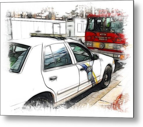 911 Metal Print featuring the photograph Philadelphia Police Car by Fiona Messenger