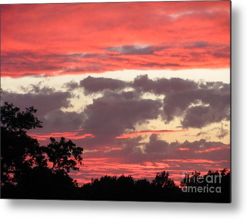 Pink Clouds Sunset Photograph Sunset Canvas Prints Skyscape Silhouette Landscape Pink And Purple Clouds Prints Pink Skies Purple Sky Pink Skyscape Posters Metal Print featuring the photograph Pink Clouds by Joshua Bales