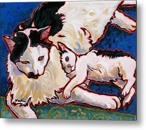 Cat Metal Print featuring the painting Pirate And June by Nadi Spencer