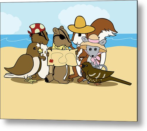 Chipmunk Metal Print featuring the digital art Pirate Map by Christy Beckwith