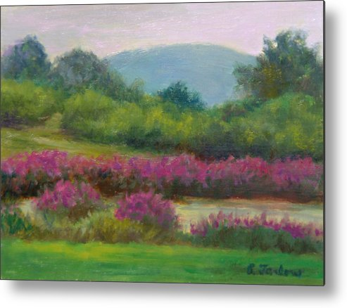 Landscape Metal Print featuring the painting Pond At Willow Tree Farm by Phyllis Tarlow