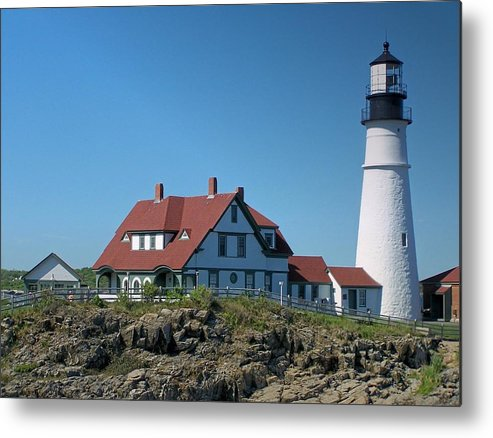 Lighthouse Metal Print featuring the photograph Portland Head Lighthouse by Gene Cyr