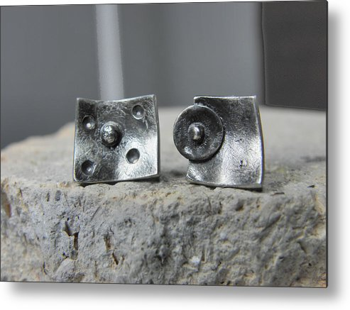 Silver Earrings Metal Print featuring the jewelry Post Stud Silver Unisex Earrings by Vesna Kolobaric