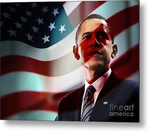 President Barack Obama Paintings Metal Print featuring the mixed media President Barack Obama by Marvin Blaine