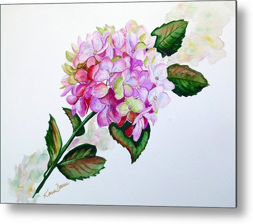 Hydrangea Painting Floral Painting Flower Pink Hydrangea Painting Botanical Painting Flower Painting Botanical Painting Greeting Card Painting Painting Metal Print featuring the painting Pretty In Pink by Karin Dawn Kelshall- Best