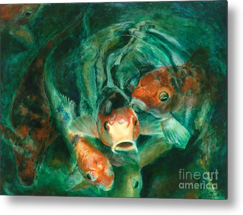 Water Metal Print featuring the painting Prosperity Koi by Lyn Pacificar