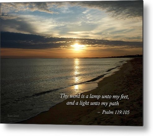 Religious Metal Print featuring the photograph Psalm 119-105 Your Word Is A Lamp by Susan Savad