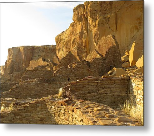 Chaco Metal Print featuring the photograph Pueblo Bonito And Cliff by Feva Fotos