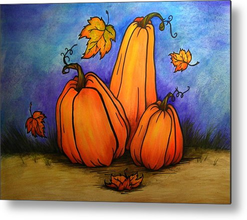 Pumpkin Metal Print featuring the painting Pumpkin Trio by Catherine Howley