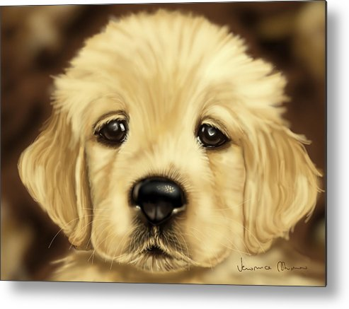 Dog Metal Print featuring the painting Puppy by Veronica Minozzi
