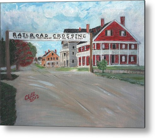 Architecture Metal Print featuring the painting Railroad Crossing by Cliff Wilson