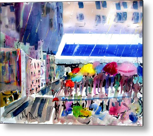 City Metal Print featuring the painting Rainy City by John Dunn
