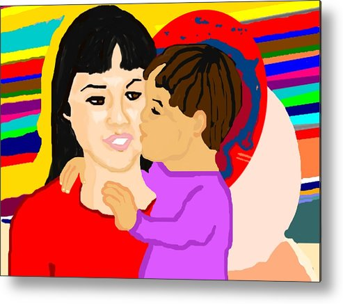 Family Metal Print featuring the painting Raising Son by Pharris Art