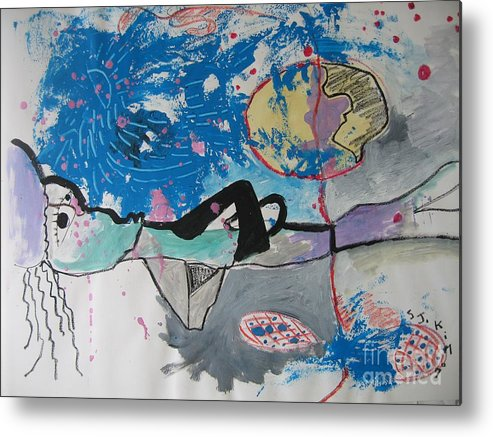 Abstract Paintings Metal Print featuring the painting Read My Mind2 by Seon-Jeong Kim