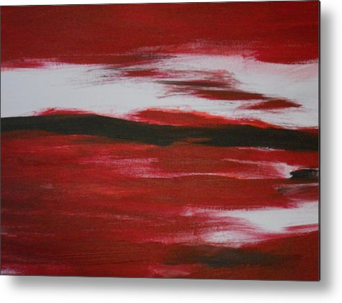 Red Metal Print featuring the painting Red Abstract by Dotti Hannum