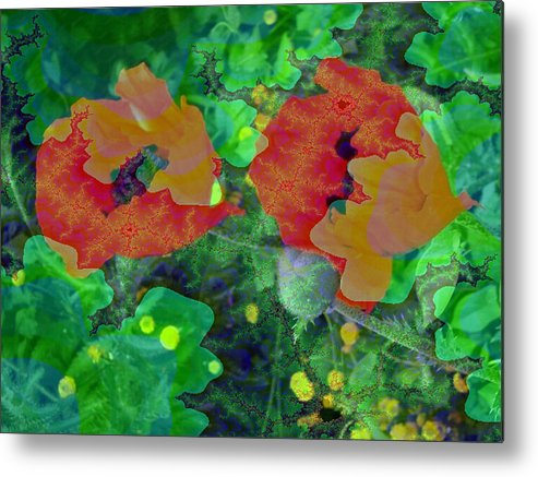 Poppies Metal Print featuring the photograph Red Poppies Flowers by Artistinoz Jodie sims
