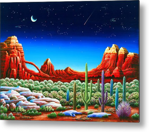 Painting Metal Print featuring the painting Red Rocks 5 by MGL Meiklejohn Graphics Licensing