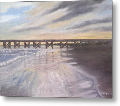Beach; Pier; Low Country Metal Print featuring the painting Reflections by Ben Kiger