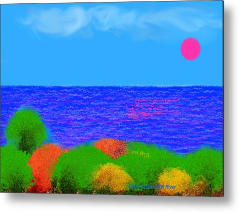 Sky.sun.clouds.sea.waves.sun Reflection.coast.trees.colors.green.blue.orange.yellow.evening.river.na Metal Print featuring the digital art River by Dr Loifer Vladimir