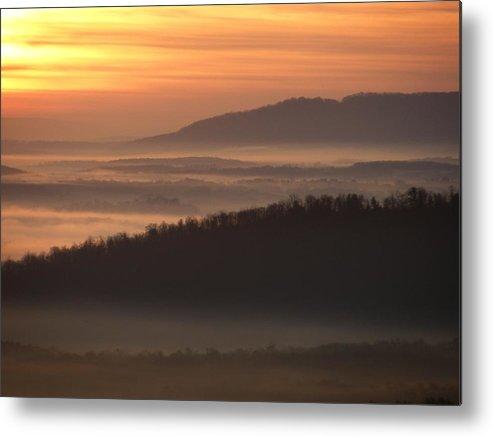 Sunrise Metal Print featuring the photograph River Fog Sunrise by William Fox