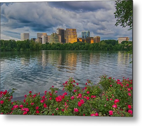 Potomac River Sunset Metal Print featuring the photograph Rosslyn Virginia Sunset From Across The Potomac River by Martin Belan