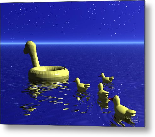 Nature Metal Print featuring the digital art Rubber Duckies by Christopher Lynch