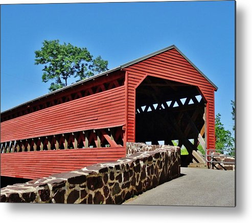 Sachs Metal Print featuring the photograph Sachs Covered Bridge 2 by Scenic Sights By Tara