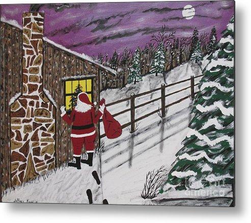 Santa Claus Metal Print featuring the painting Santa Claus Is Watching by Jeffrey Koss