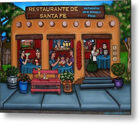 Folk Art Metal Print featuring the painting Santa Fe Restaurant by Victoria De Almeida