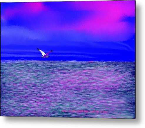Evening.sky.clouds.sunrays.sun.sunset.sea.waves.colors.blue.pink.red.dark Blue Metal Print featuring the digital art Sea. Last Rays Of Sun by Dr Loifer Vladimir