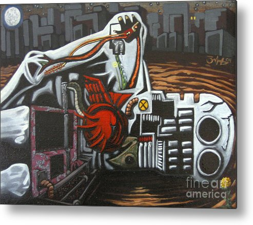Painting Metal Print featuring the painting Self Portrait Assuming I Had Died Before I Lived by Mack Galixtar