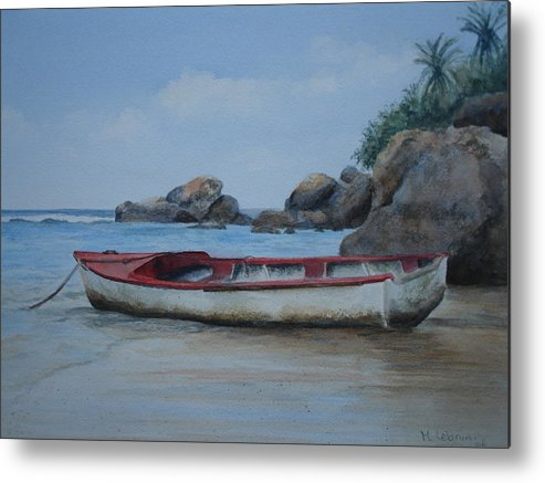 Landscape Metal Print featuring the painting Seychelles Memories by Maruska Lebrun