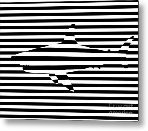 Abstract Metal Print featuring the painting Shark Optical Illusion by Pixel Chimp