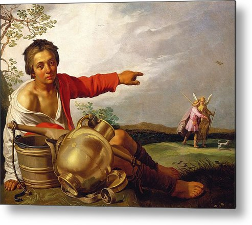 Pointing Metal Print featuring the painting Shepherd Boy Pointing At Tobias And The Angel by Abraham Bloemaert
