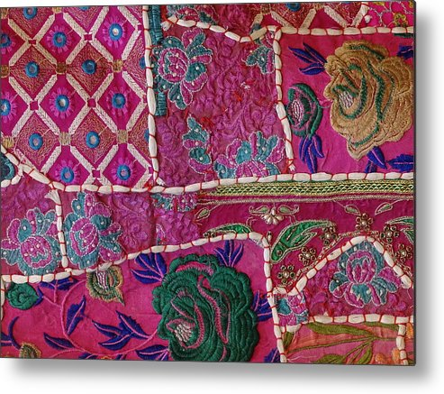 220d3a9e762f Shopping Metal Print featuring the photograph Shopping Colorful Tapestry Sale  India Rajasthan Jaipur by Sue Jacobi