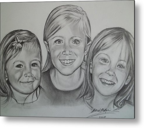 Pencil/charcoal Drawings Of Childrens Metal Print featuring the drawing Sisters by Barb Baker