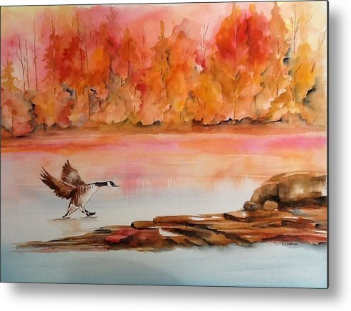 Autumn Metal Print featuring the painting Skid by Ellen Canfield