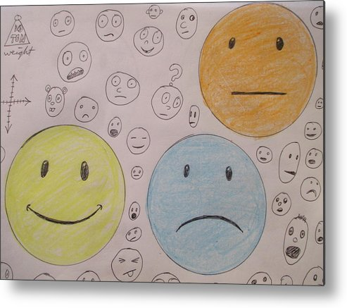 Smiley Metal Print featuring the drawing Smiley Face And Friends by David Lovins