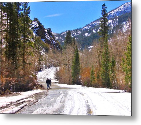 Sky Metal Print featuring the photograph Snow Walking by Marilyn Diaz