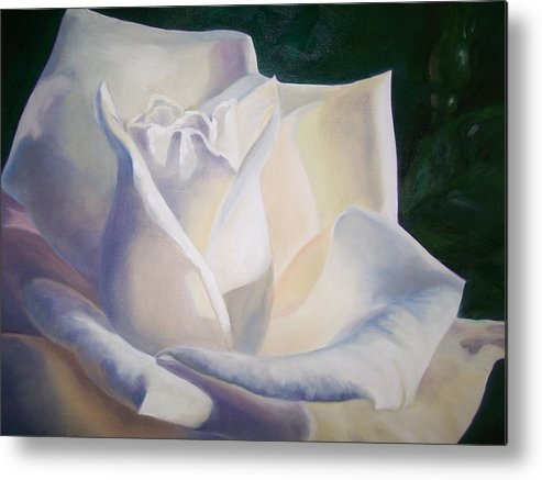Close Up Floral White Rose Metal Print featuring the painting Snow White by Ellen Ebert