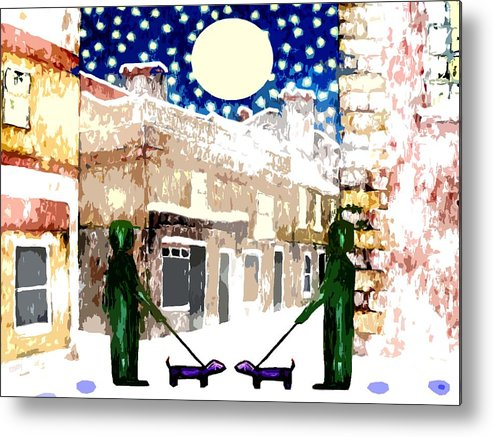 Landscapes Metal Print featuring the painting Snowy Night by Patrick J Murphy