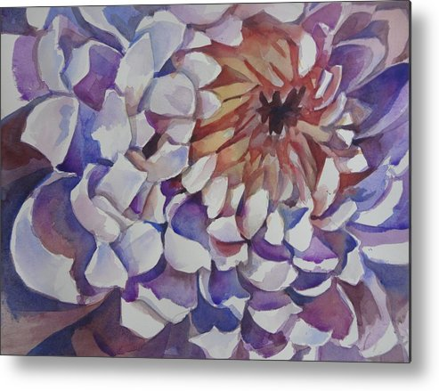 Watercolor Metal Print featuring the painting Spider Mum by Sri Rao