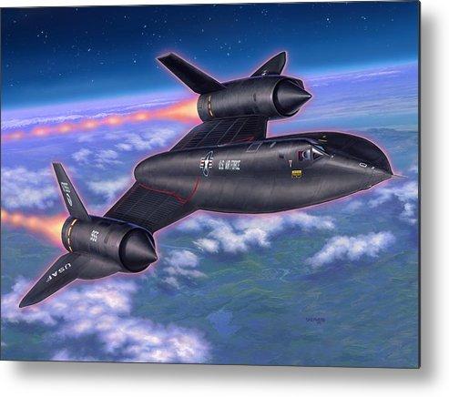Sr-71 Metal Print featuring the painting Sr-71 Blackbird by Stu Shepherd